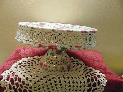 Victorian Pink ROSE chintz Cake Cookie Server set Plate Stand Tray