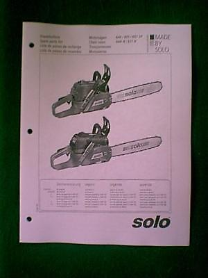 SOLO MODELS 644 651 651Sp 644H 651 H Chain Saw Parts Manual - $5.00 ...