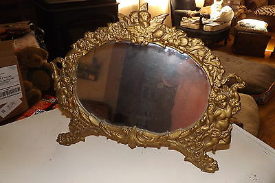 Antique NB&IW National Bronze & Iron Works Cast Brass Mirror Cherubs