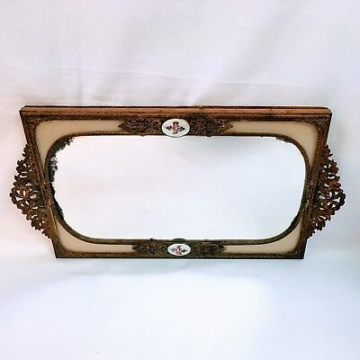 Antique French Guilloche Enamel Gilt Bronze Louis XVI Style Mirror vanity