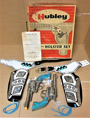 Vintage 2 Hubley cap guns and holster set still in the box
