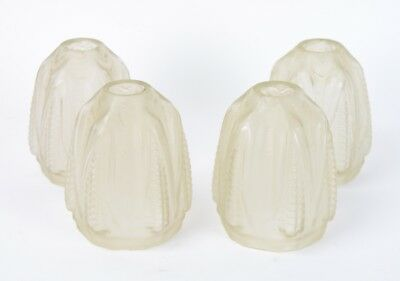 Set 4 French Art Deco Frosted Glass Lamp Chandelier Replacement Shades Corn Moti