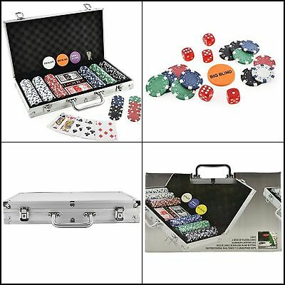 Poker Set 300 Chip Dice Style In Aluminum Case Casino-Quality Poker 11.5g Chips