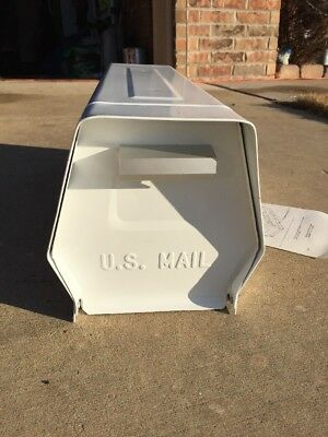 Vintage NOS US MAIL Rugged White Steel Rural Box-Made In USA-Home-Farm! Hexagon