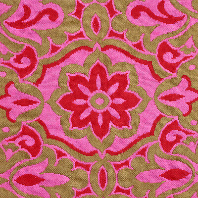 Vintage Mid Century HEAVY Woven Bedspread Reversible Pink Red, Fringe, Full
