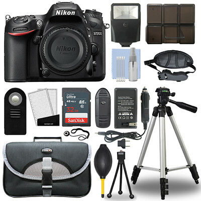 Nikon D7200 24.2 MP Digital SLR Camera Body + 32GB Top Accessory Bundle
