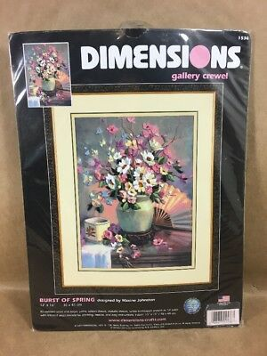 "Dimensions - Gallery Crewel Kit - 2004 -  ""BURST OF SPRING""  NEW"