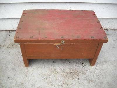 Vintage Antique Primitive Wood Stool Bench W/ Storage  15x10x7.5 Shabby Garden