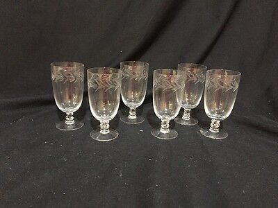 Antique (Lot of 6) CORDIAL/water Footed GLASSES w/ ETCHED DESIGN