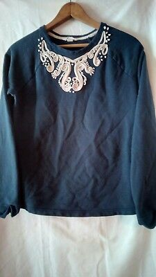 Lands End Kids Navy Sweater Braided Collar Detail Embroidered XL 16