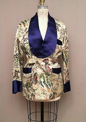 Vintage 40s 50s Asian Smoking Jacket Robe Brocade Satin Japanese Pagoda Mens M/L