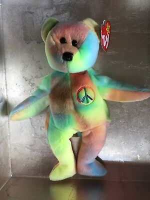 Ty Peace Beanie Baby Bear, Retired And Museum Quality, 1997 Extremely Rare
