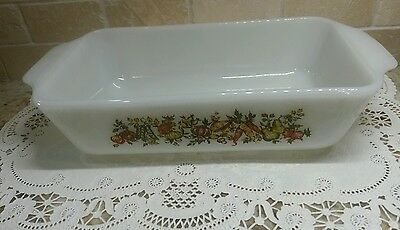 anchor hocking fire king 1 qt glass loaf pan fruit  pattern  #441  USA