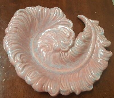 1940's Royal Haeger by Hickman Mauve Agate Swirl Feather Plume Dish Made In USA