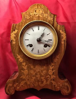 Antique C. 1820 French Bell Strike Silk Suspension Marquetry Inlaid Mantel Clock