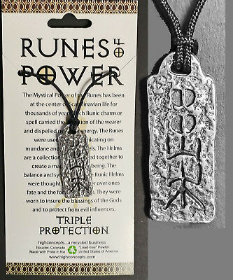 "NORSE VIKING RUNE OF POWER ""TRIPLE PROTECTION""  WICCA AMULET Pendant"
