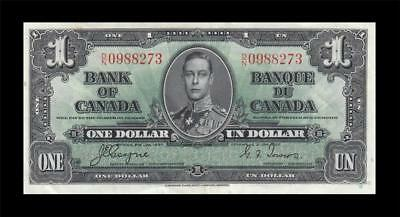 1937 BANK OF CANADA KGVI $1 **Coyne & Towers** (( EF+ ))