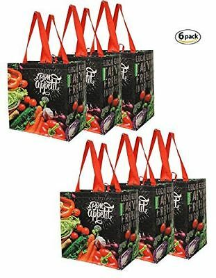 Earthwise Reusable Grocery Bags Shopping Totes with Chalkboard Veggies Design (