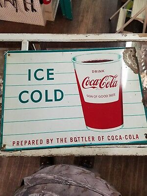 Vintage Original Coca-Cola Tin Sign  Ice Cold Coke