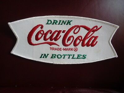 DRINK COCA-COLA IN BOTTLES 1950's WHITE FISH TAIL UNIFORM PATCH VINTAGE 9X4 ORIG