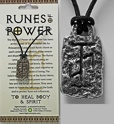 "AMULET RUNE OF POWER ""HEAL BODY MIND SPIRIT"" NORSE VIKING WICCA Pendant Necklac"