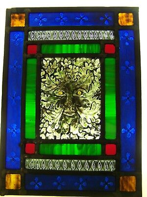 Victorian style Green man stained glass door panel