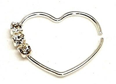 Daith Heart 925 Silver 3 CZ Ring 20g (0.8 mm) Helix Cartilage Tragus Piercing