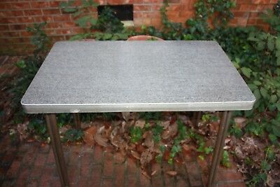 1950's Vintage Mid Century Kitchen Table Rectangular Chrome Formica Retro Dining