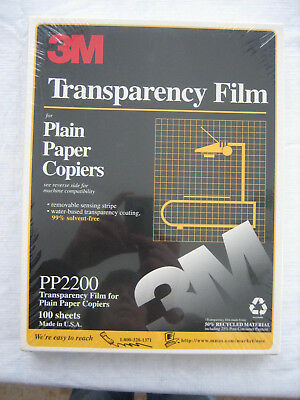 "3M Transparency Film For Copiers 100 Sheets 8.5"" x 11"" PP2200 Sealed Package"