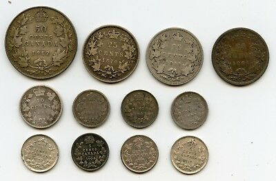 11 Genuine Different Pre-1920 Canada Sterling silver Coins