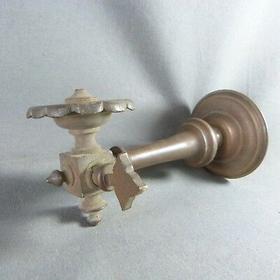 Antique French Copper Gas Burner Wall Light Sconce - c.1900