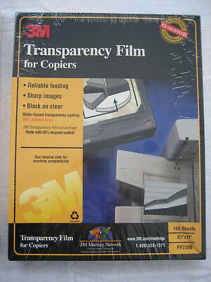 "3M Transparency Film For Copiers 100 Sheets 8.5"" x 11"" PP2500 Sealed Package"