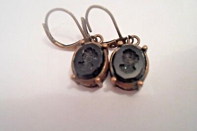 Vintage Black Onyx Cameo French Clip Pierced Earrings Carved Into Onyx Stunning