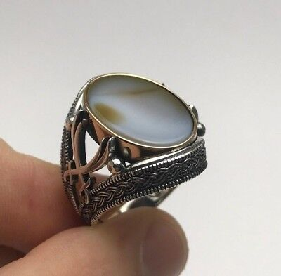 Turkish Islamic Jewelry Zulfiqar White Agate 925K Sterling Silver Men's Ring
