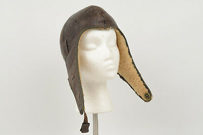 Vintage Leather Aviation Flying Helmet Pilots Hat Cap WWll Motorcycle WW2 Helmet