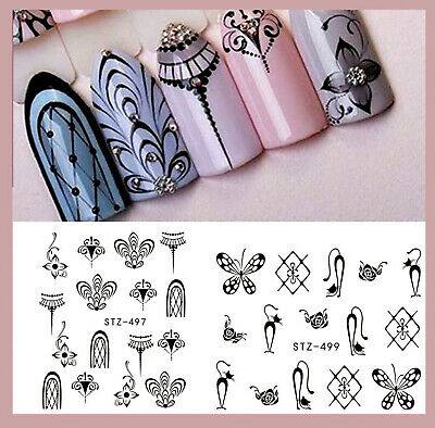❤️born Pretty Nail Art 2 Planches Stickers Dentelle +200 Strass Bijoux Manucure