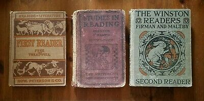 Lot of 3 Vintage Antique Readers School Books Early 1900's Children Reading