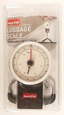 Compact Portable Luggage Scale Tape Measure 75LB Hanging Travel Weight Suitcase