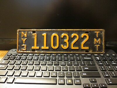 Older New York [NY3] Truck Milage Tax [TMT] License Plate # 110322