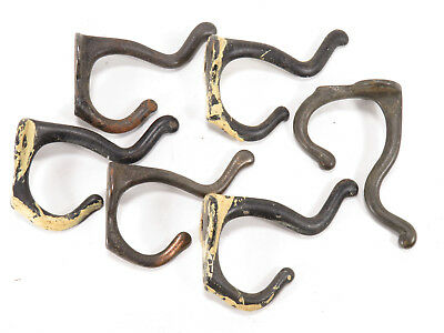 Lot of 6 Antique Cast Iron Coat Hat Hooks Schoolhouse RECLAIMED
