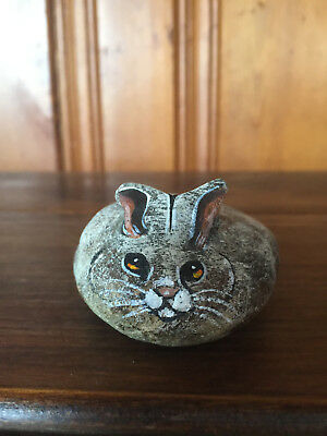 Hand Painted Rabbit Rock Signed Stone Art