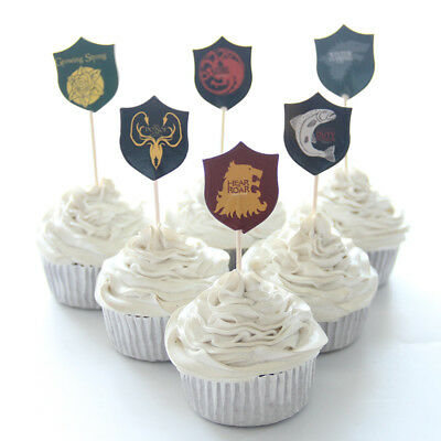 NEW 24pcs Game of Thrones Cupcake Toppers for Birthday Party Decor
