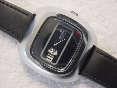 Vintage large antique Art Deco / Space Age CRONEL JUMP HOUR mens watch .. NR