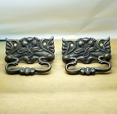 "2.71"" Set of 2 pcs Vintage Victorian Trumpet Flower Antique Cabinet Handle Pulls"