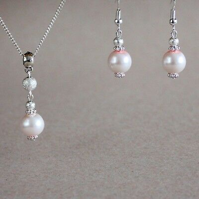 Light blush pink pearls necklace earrings silver wedding bridal jewellery set