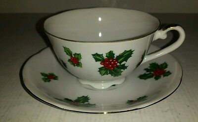 Vtg Lefton Tea Cup And Saucer Holly Design Holiday Nice!