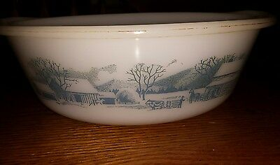 Vintage Carrier & Ives round Casserole Dish Country Farm Scene