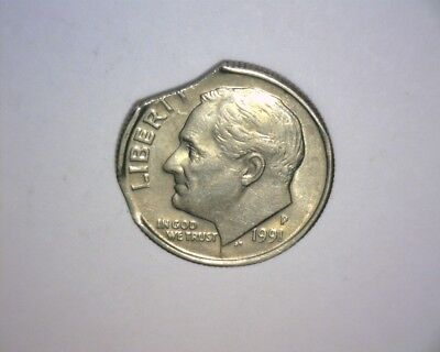 1991 P Roosevelt Dime,  Double Curved Clip, Higher Grade,  Us Error Coin