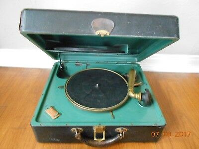 Antique Victrola Portable Suitcase Record Player Victor Talking Machine WORKS!