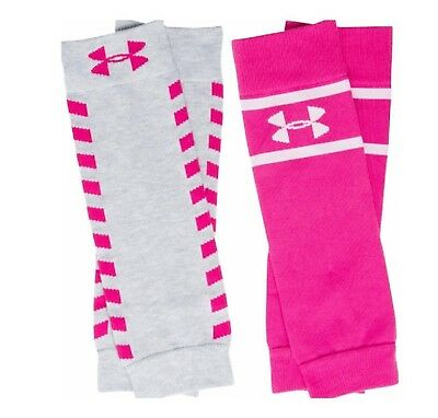 NWT UNDER ARMOUR Women's UA  Sport Leg Warmers Cerise Pink / Gray 2 Pack 1294730